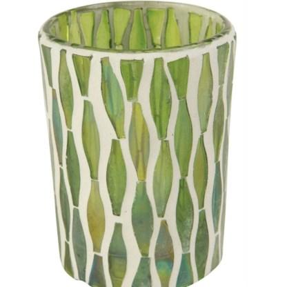 Ian Snow Lustre Glass Mosaic Votive Green   Restoration Yard
