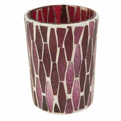 Ian Snow Lustre Glass Mosaic Votive Red   Restoration Yard