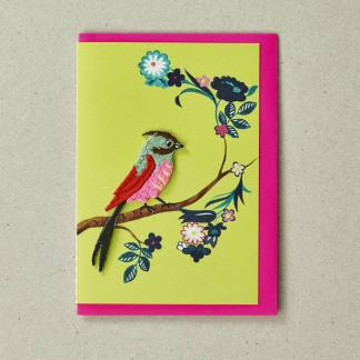 Embroidered Bird Blank Greeting Card by Petra Boase | Restoration Yard