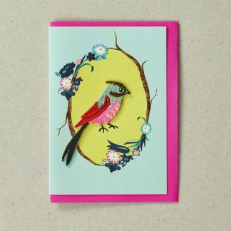 Embroidered Bird Greeting Card by Petra Boase | Restoration Yard