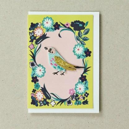 Bird Card Yellow Green Greeting Card by Petra Boase   Restoration Yard