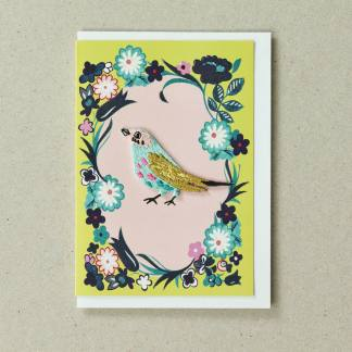 Bird Card Yellow Green Greeting Card by Petra Boase | Restoration Yard