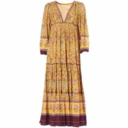 Dinah Mustard Maxi Dress by M.A.B.E | Restoration Yard