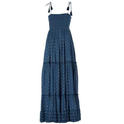 Livia Frill Dress Navy by M.A.B.E | Restoration Yard