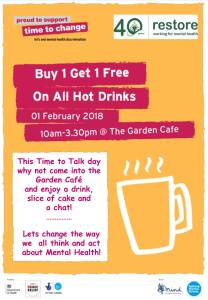 Time to Talk Day @ Garden Cafe | England | United Kingdom