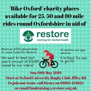 Raise funds for Restore by riding your bike @ Oxford University Rugby Club