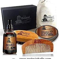 BEARD CARE KIT + Comb + Brush + Oil + Luxury Gift Box Easy Grooming