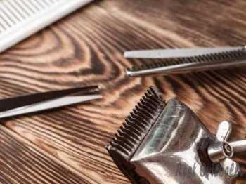 Barber Tools On Wooden Background  Scissors VS Beard Trimmer
