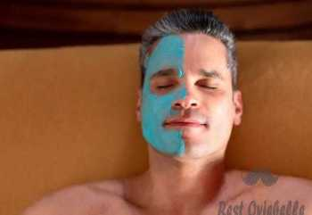 Portrait of a man at the spa with a face mask  best exfoliator for men