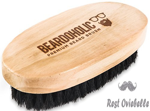 BEARDOHOLIC Boar Hair Beard Brush - Professional Barber Brush for Grooming, Detangling and Beard Health - Distributes Natural Oils - Portable, Great Gift for Bearded Men - Bamboo Wood