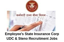 ESIC UDC & Stenographer Recruitment