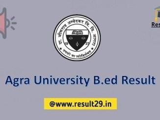 Agra University B.ed Result