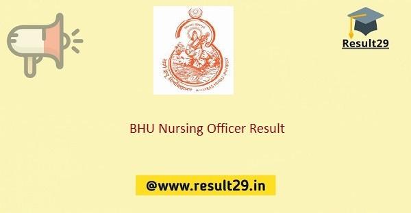 BHU Nursing Officer Result