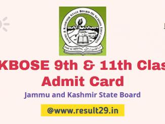 JKBOSE 9th & 11th Admit Card