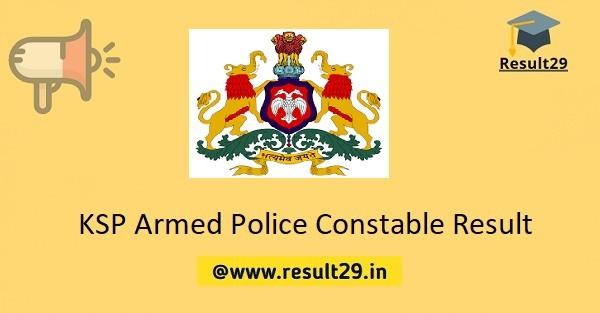 KSP Armed Police Constable Result
