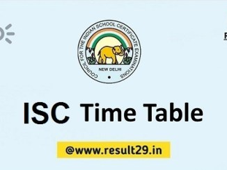 ISC Time Table