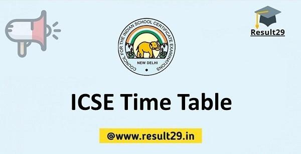ICSE Time Table