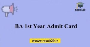 BA 1st Year Admit Card