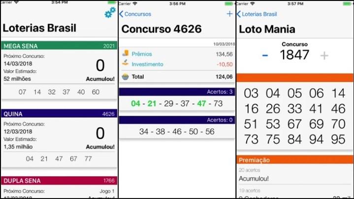 prints de tela do app Loterias Brasil