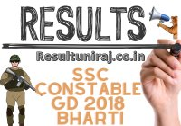 SSC Constable GD Final Result Announced