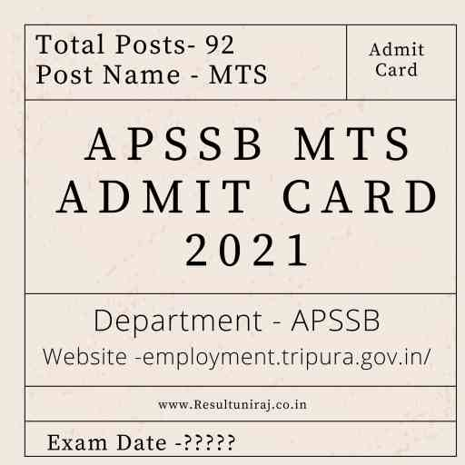 APSSB MTS Admit Card 2021