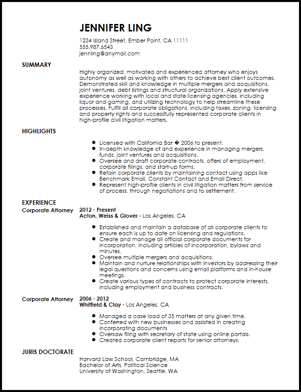 Free Contemporary In House Lawyer Resume Template Now Templates Attorney