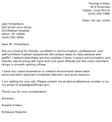 Medical Cover Letter Examples Resume Now