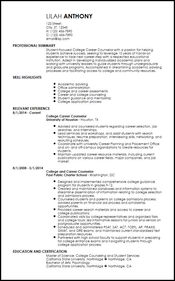 Free Creative Academic Advisor Resume Templates Resume Now