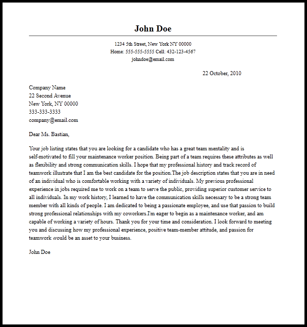 Professional Maintenance Worker Cover Letter Sample