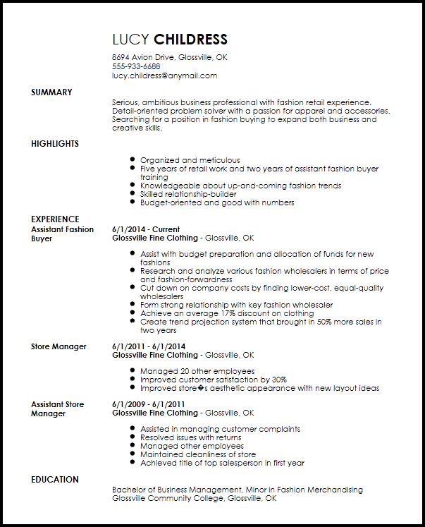 Free Professional Fashion Assistant Buyer Resume Template