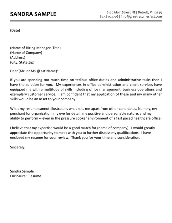 cover letter example admin assistant template