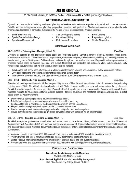 Banquet Sous Chef Resume. Resume Sample Catering Sales Manager