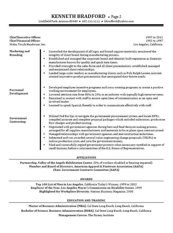 ceo cfo executive resume example page 2