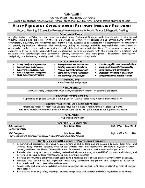 Truck Owner Operator Resume. heavy equipment operator resumes ...