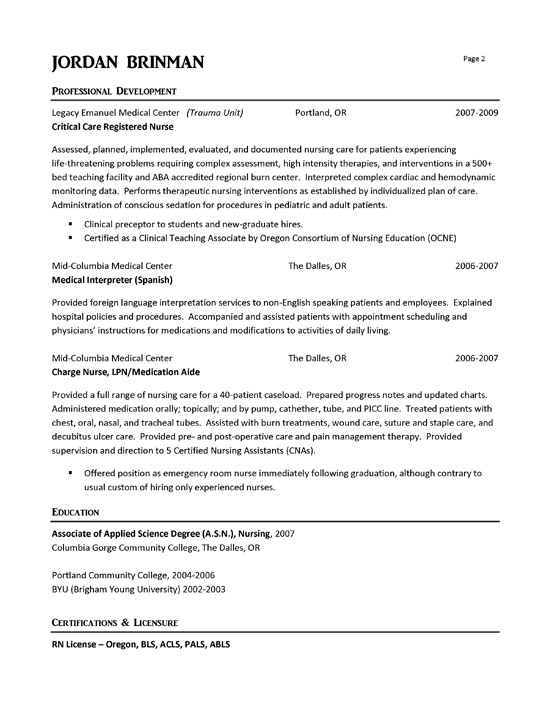 Example Nursing Resumes  Template