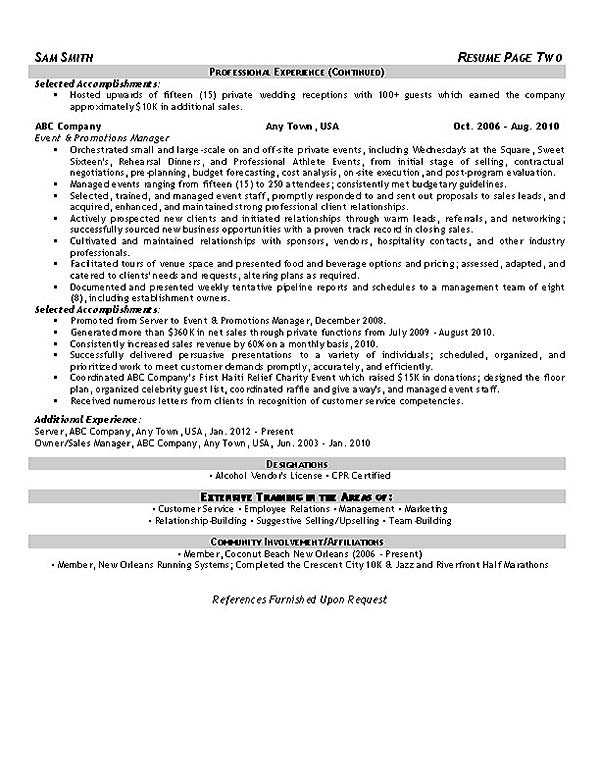 Banquet Set Up Resume Sample. Template Example For. Banquet Server
