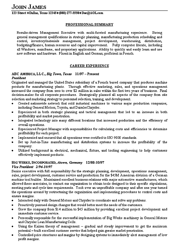 Sample Executive Summary For Resume example resume executive – Executive Summary Format Example