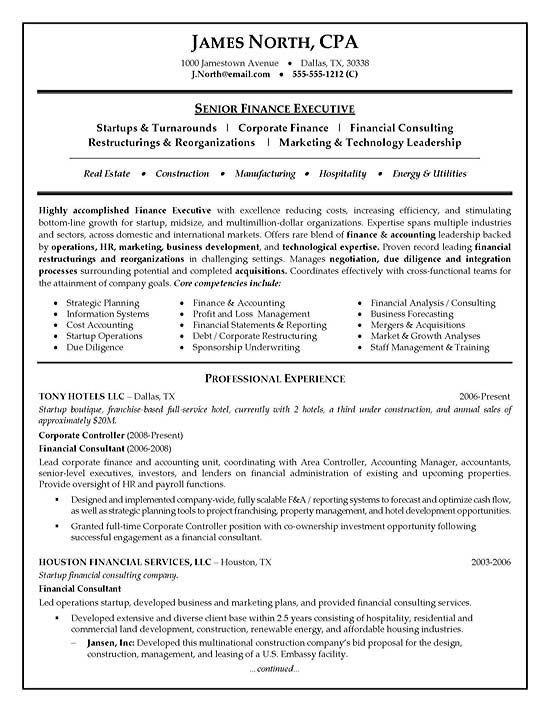 Management Consultant Resume Template. resume writer for cfos ...