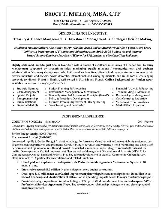 example page 1 budget analyst resume sample