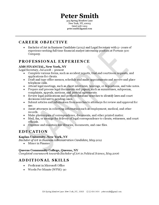 Corporate Paralegal Resume Objective. Paralegal Resume Template