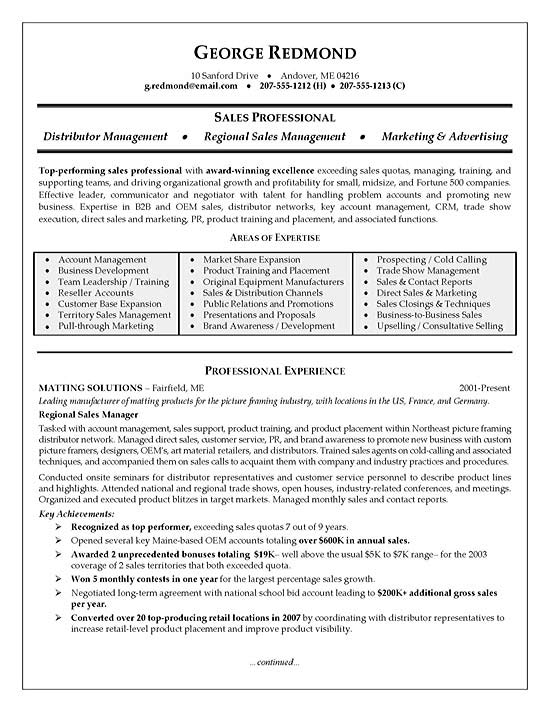 regional sales manager resume sample template template