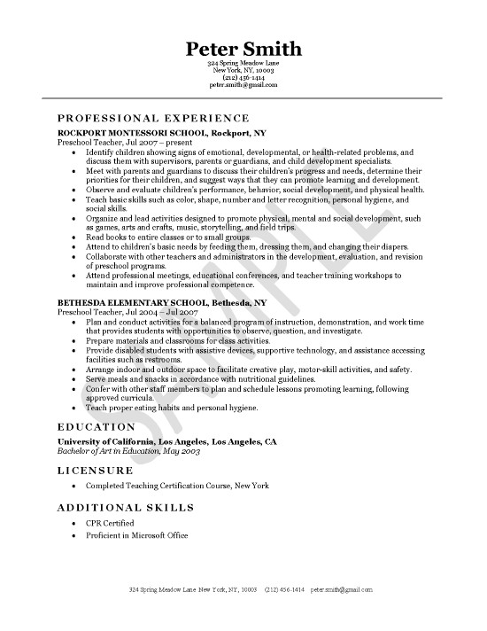 Resume Examples Education Resume Examples Elementary School Teacher