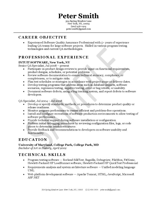 Qa Resume Samples Resume Sample
