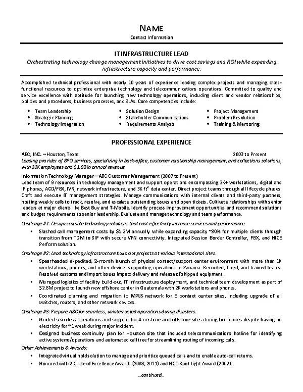 resume for leadership position