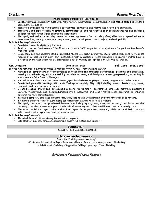 chef food service resume resume example hospitality2 event hospitality