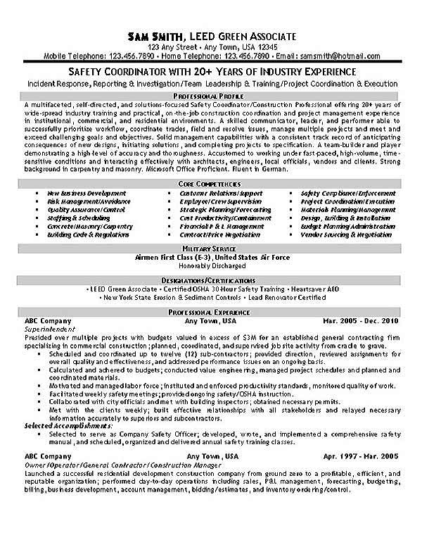 environment health and safety resume