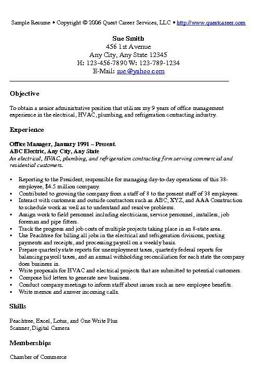office manager example sample