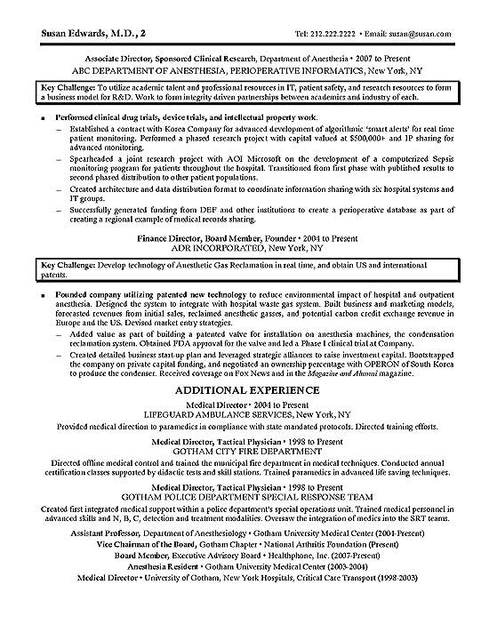 clinical research resume example page 2