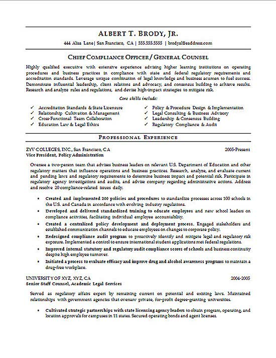 compliance officer resume example page 1 senior attorney resume