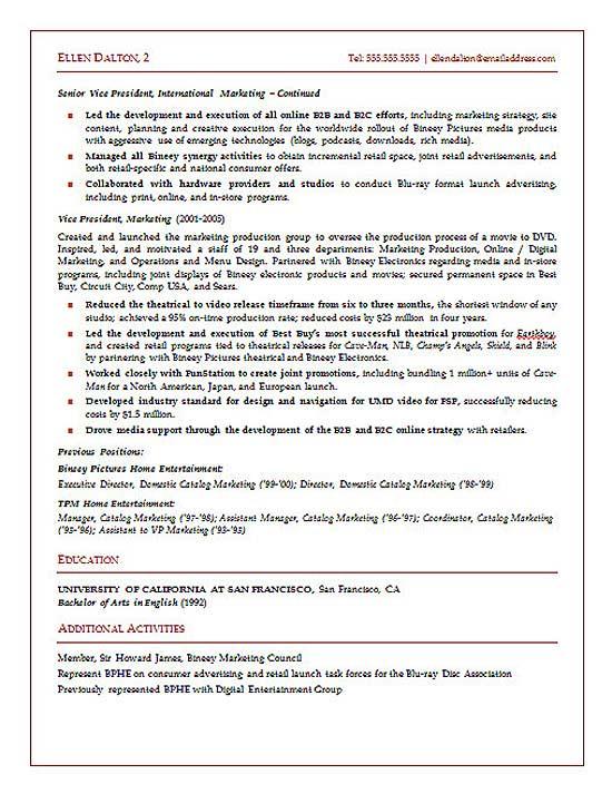 Marketing Resume Executive Summary Example. This Resume Was
